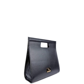 black leather hand rigid bag