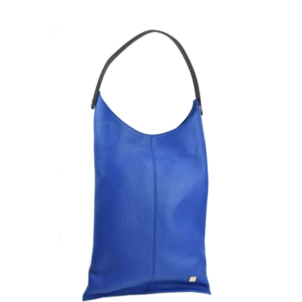 long blue leather handbag