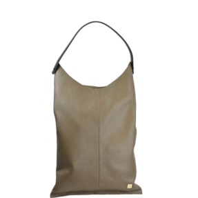 long taupe leather bag