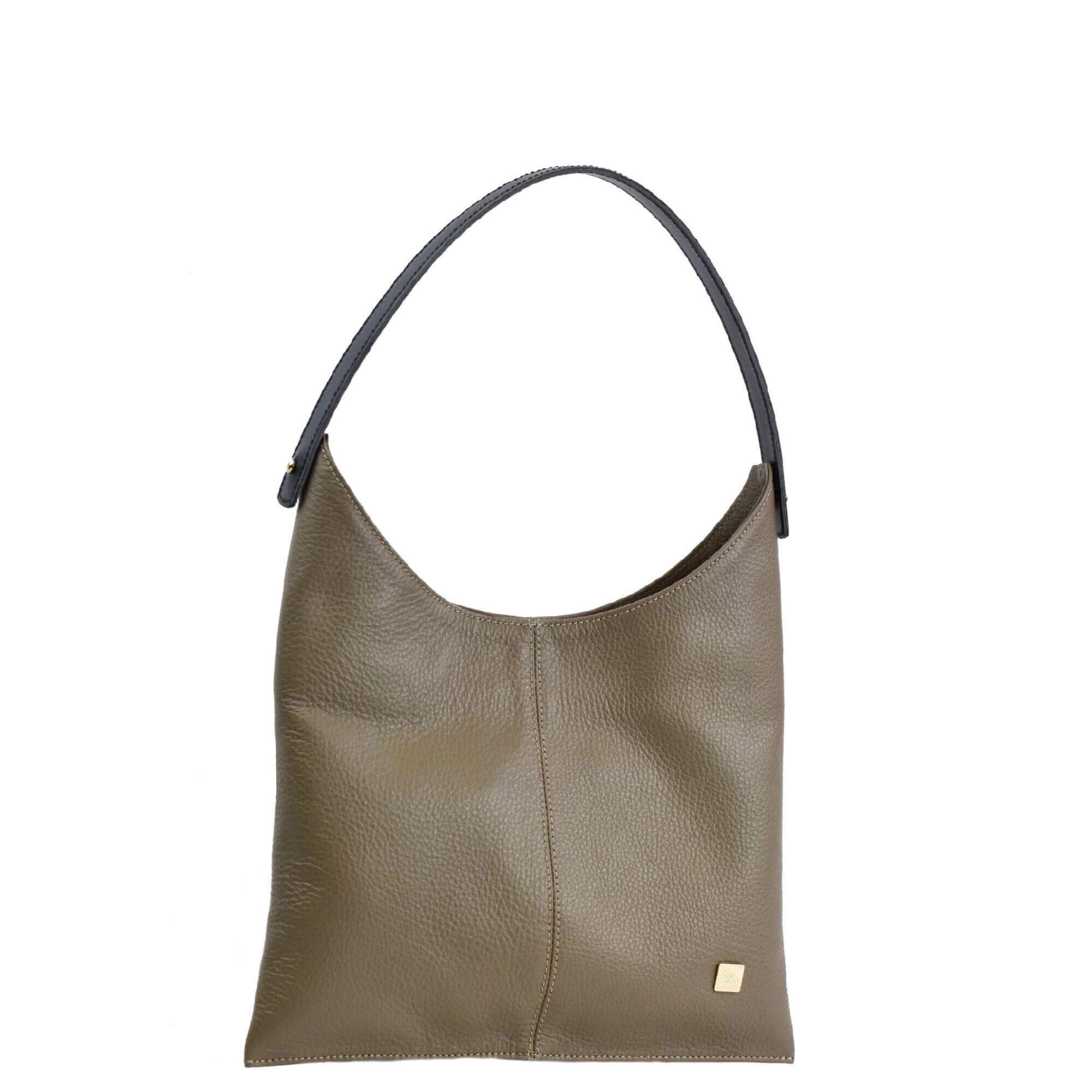 taupe soft leather bag