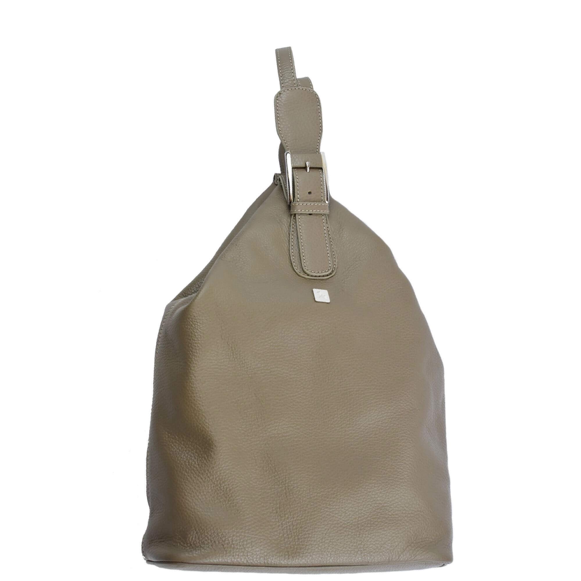 beige leather backpack taupe
