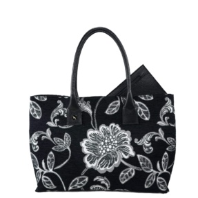 black and white maxi bag flower print