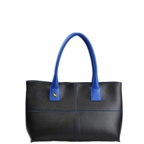 black handbags with blue trims