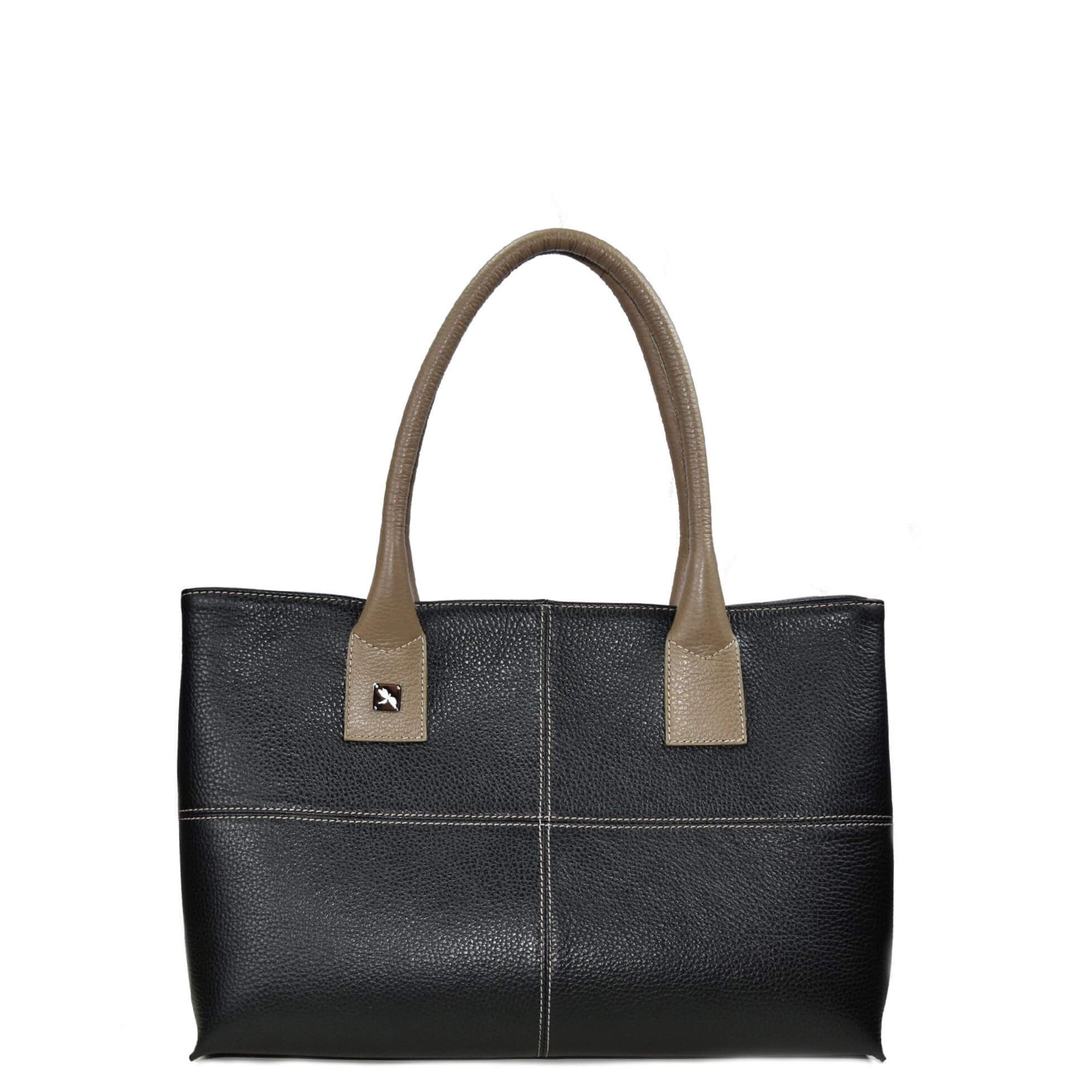black and taupe tote bag