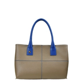 Taupe and Blue Tote Bag. Natalia S