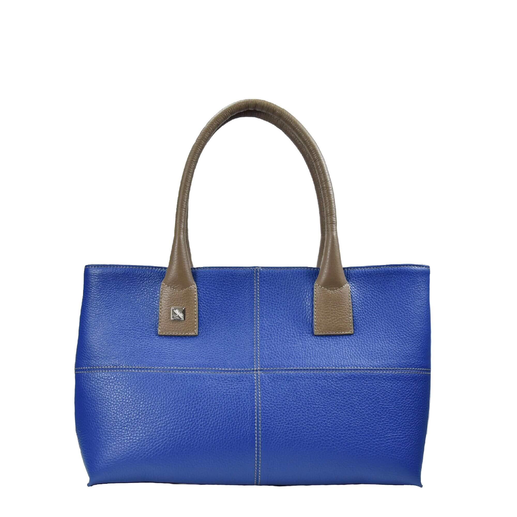 blue and taupe leather bag