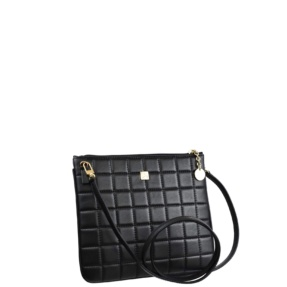 Black Matelassé Stitch Crossbody - Leather Handbags | TARA´S