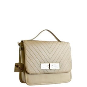 Paris square quilted bag. Beige