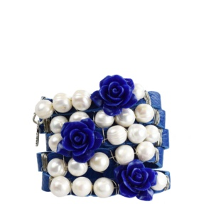 blue leather bracelet cuff with pearls tara's