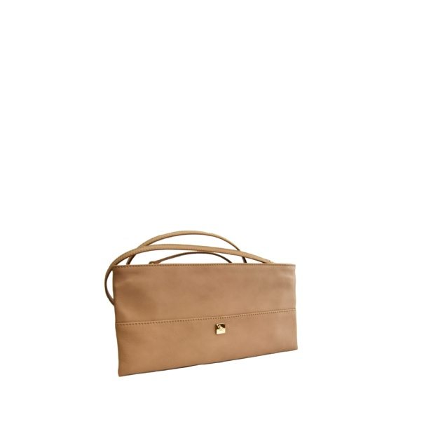Beige Smooth Leather Mini crossbody. Roma