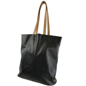 black lather shopping bag tara's handbags