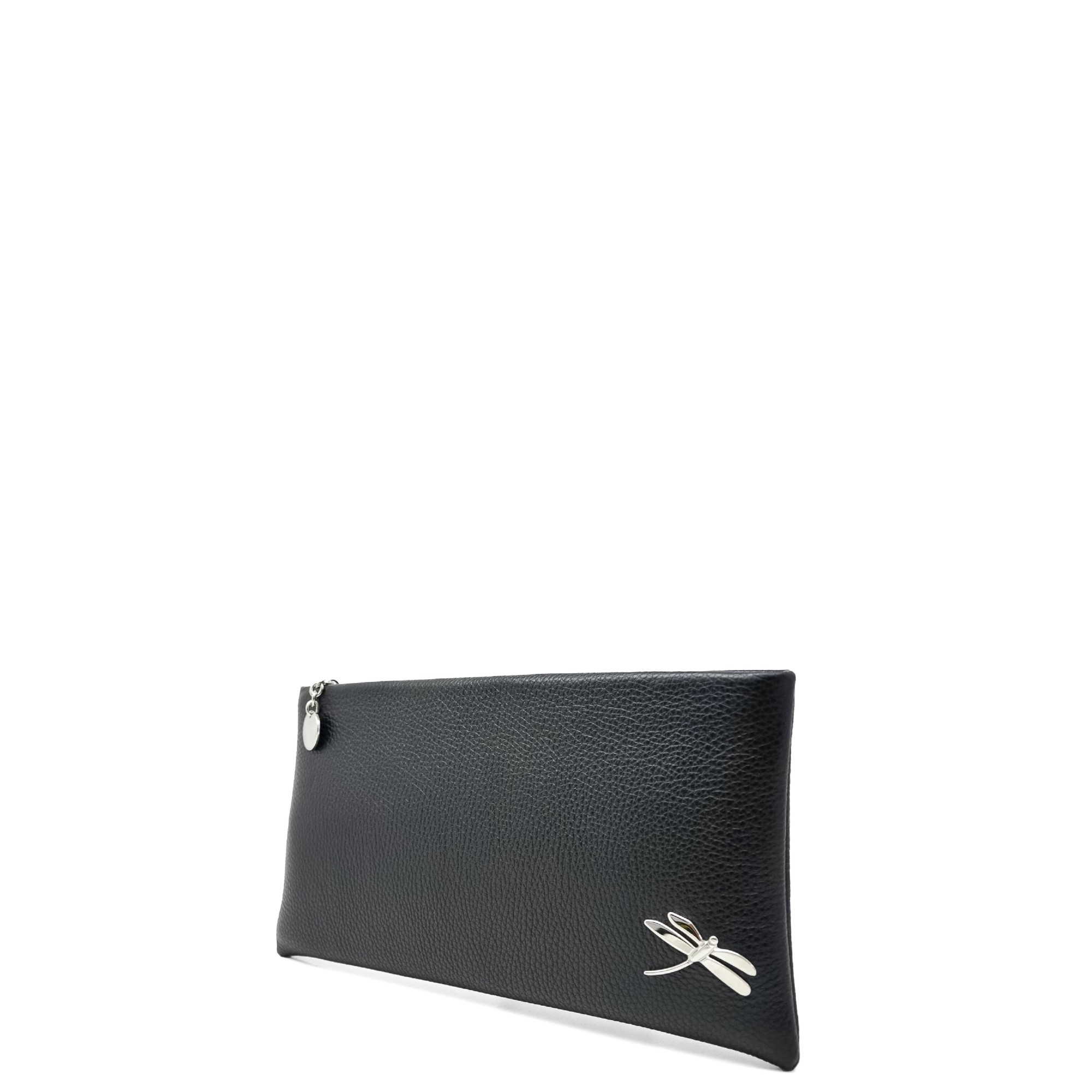 Minimalist Design Clutch Handbag with polished Italian details. Top zip closure, back hand strap, one interior zip pocket, one open slot. Soft leather lining.