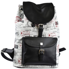 Black Jacquard Backpack. Vermont