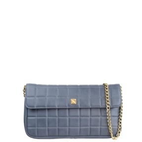 Stone Blue Matelassé Quilt and Chain Crossbody - Leather Handbags | TARA´S