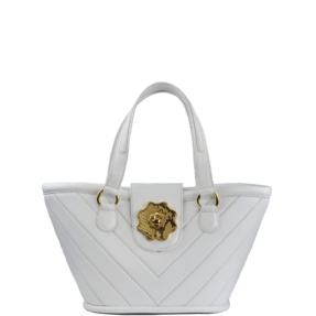 white leather mini basket tara's