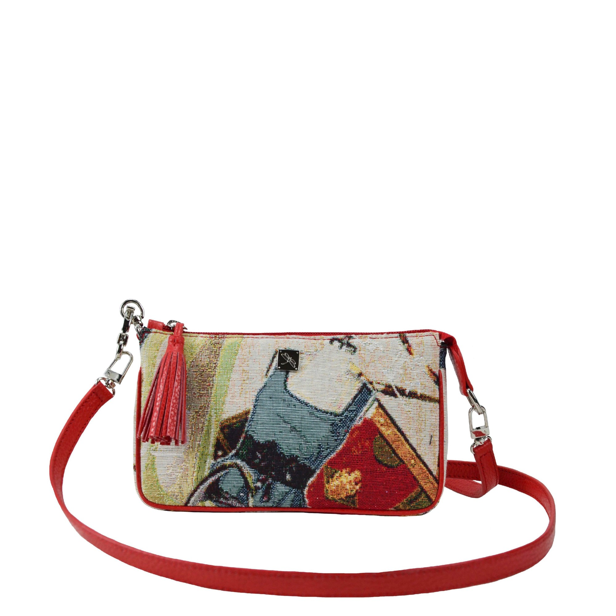 Bea Jacquard Red Crossbody Bag