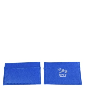 Blue Leather Cardholder (silver letters)