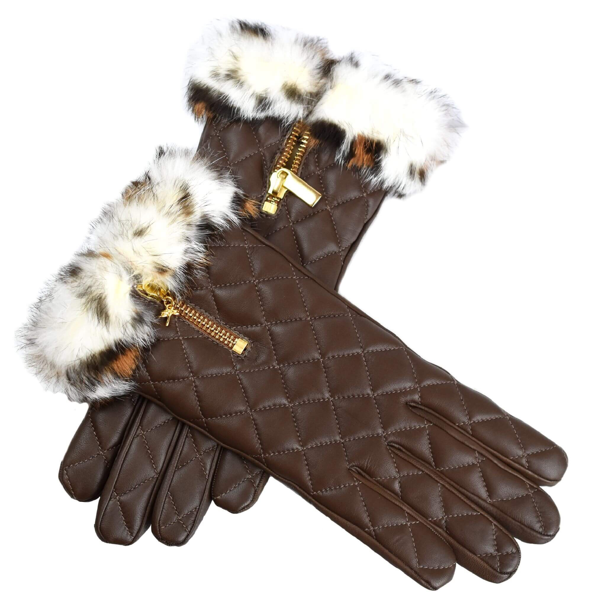Quilted Brown Leather Gloves