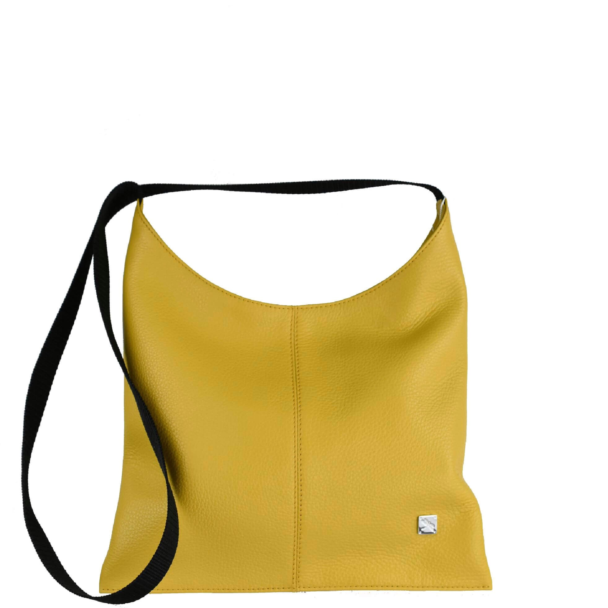 Yellow Leather Crossover Bag. Deia