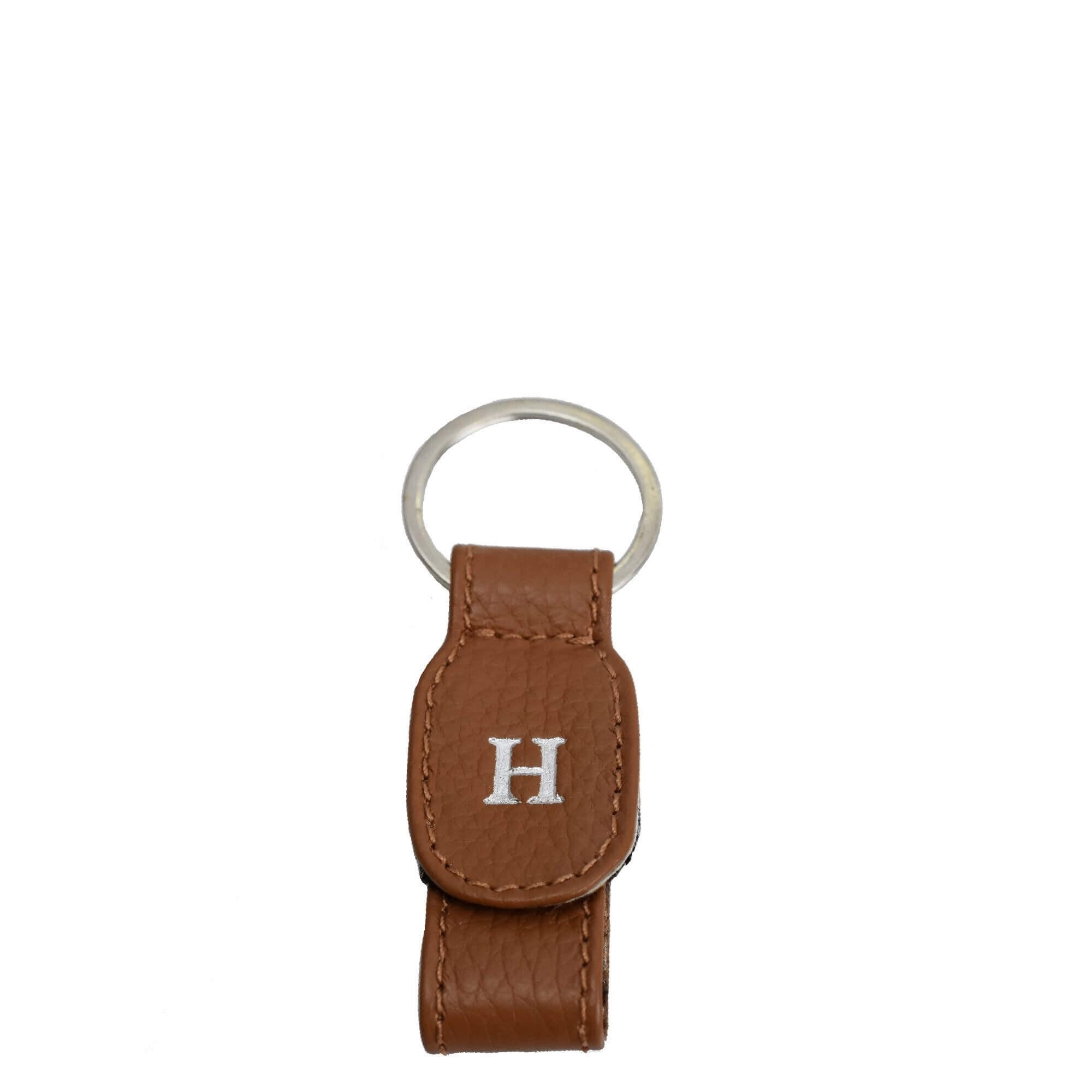 Personalized Brown Leather Keyring