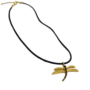 Dragonfly Necklace Black Stone