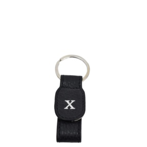 Personalized Black Leather Keyring
