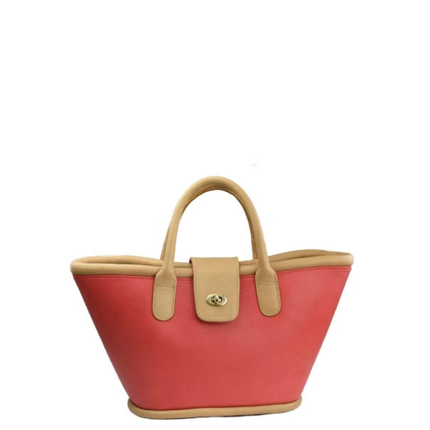 mini basket coral red tara's handbags