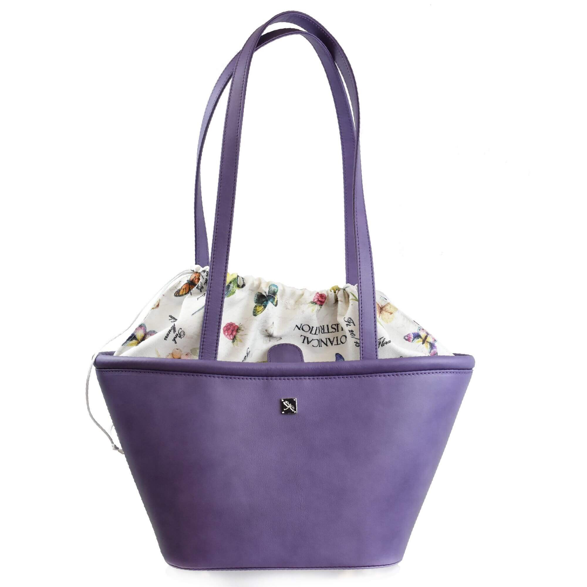 Lavender Leather Structured Shoulder Basket. Leather Handbags | TARA´S