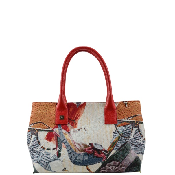 Natalia S Jacquard Red Tote Bag
