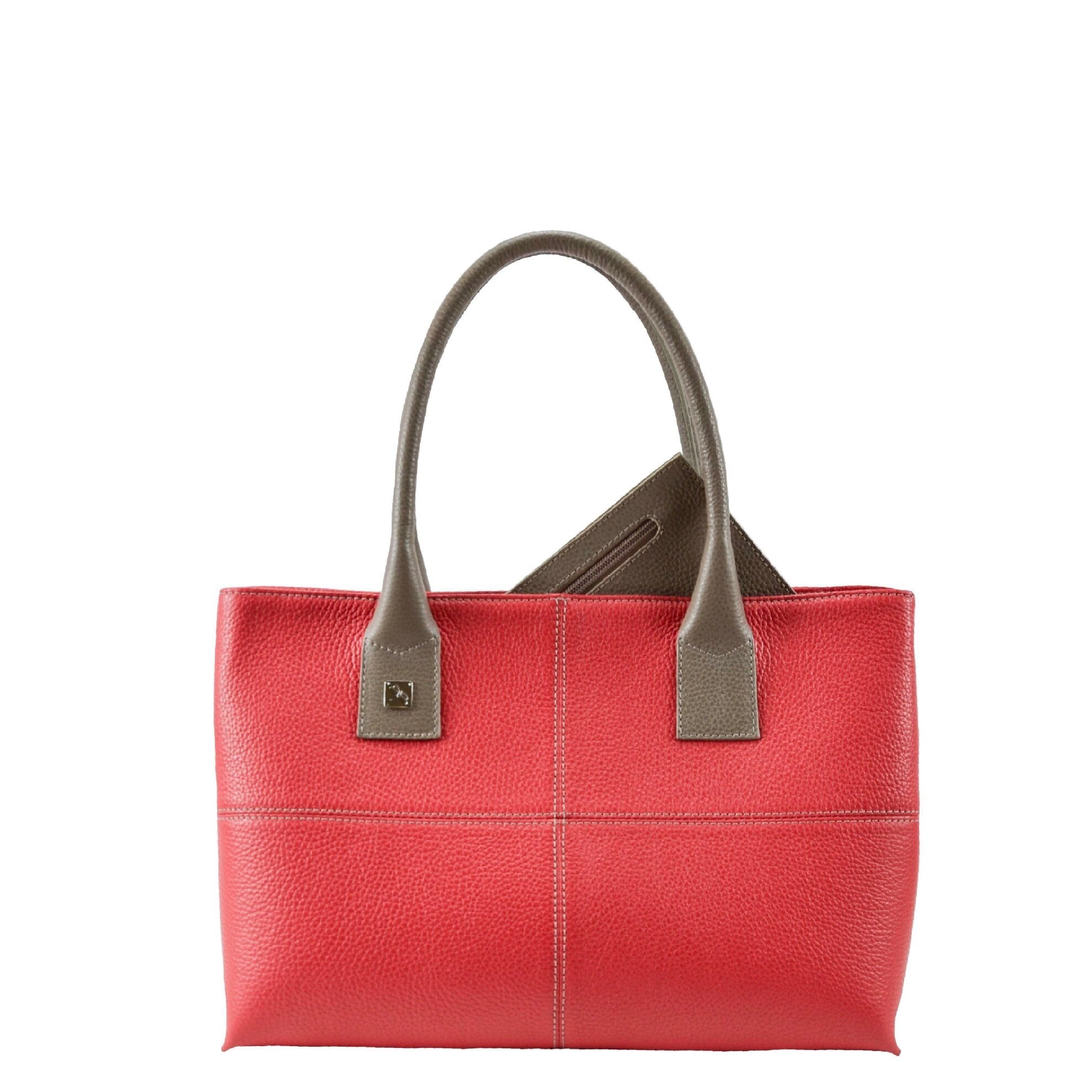 Natalia S Red and Taupe Tote