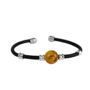 NEW - black and Amber rubber wristband