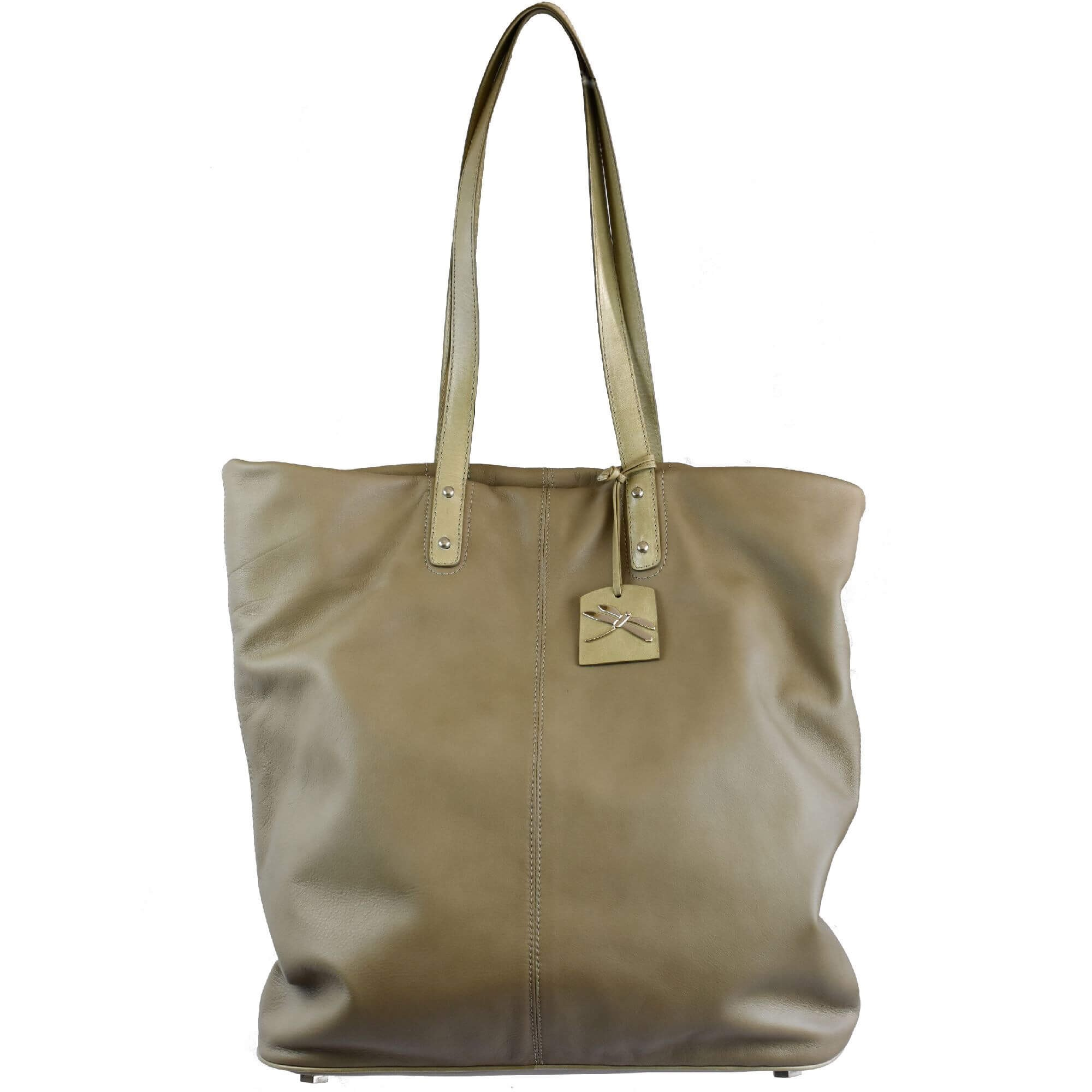 shopping leather bag taupe tara's