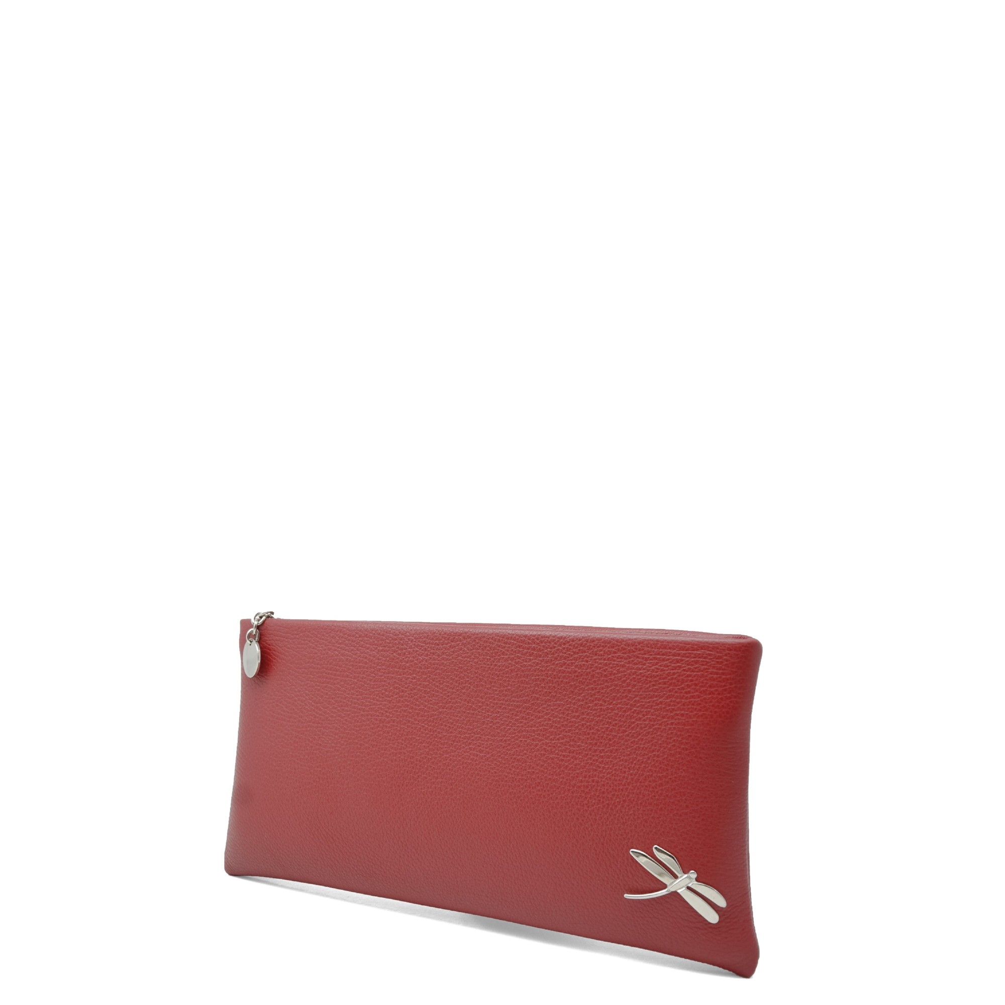 Minimalist Design Clutch Handbag with polished Italian details. Top zip closure, back hand strap, one interior zip pocket. Soft leather lining.
