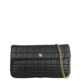 Black Matelassé Quilt and Chain Crossbody - Leather Handbags | TARA´S