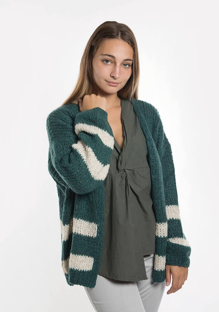 Cardigan abierto color verde