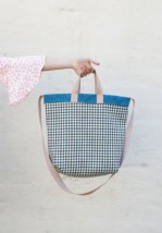 Bolso Shopper Reversible Cuadros Azul 4