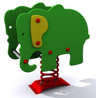 balancín infantil de uso público en forma de elefante