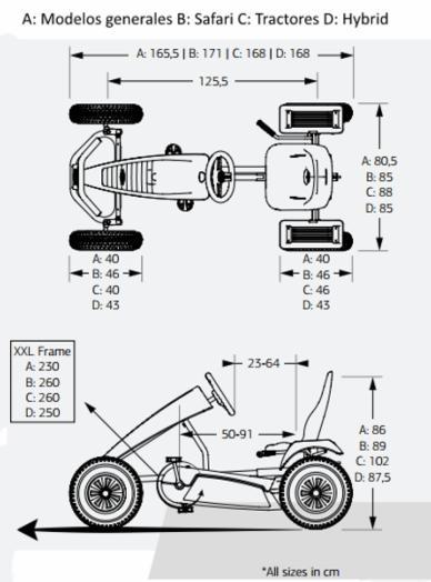 medidas karts de pedales eléctricos BERG