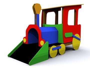 Tren infantil ideal para parques infantiles, el tren transiberiano módulo 1 tiene con rampa tobogán y cabina con asientos