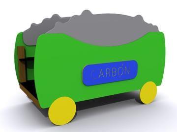 vagón del tren transiberiano de parque infantil homologado, con dos bancos en su interior