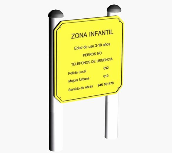 cartel cartel informativo uso comercial parques infantiles zona juegos para nios