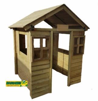 Casita de madera infantila homologada MASGAMES Fresita (Sin pintar)