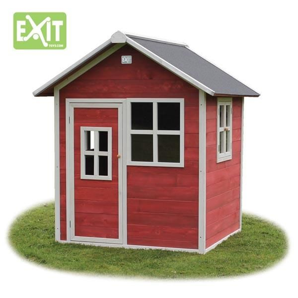 Casita de madera infantil loft red for Casas infantiles de madera para jardin