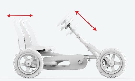 coches pedales con asiento y volante regulable