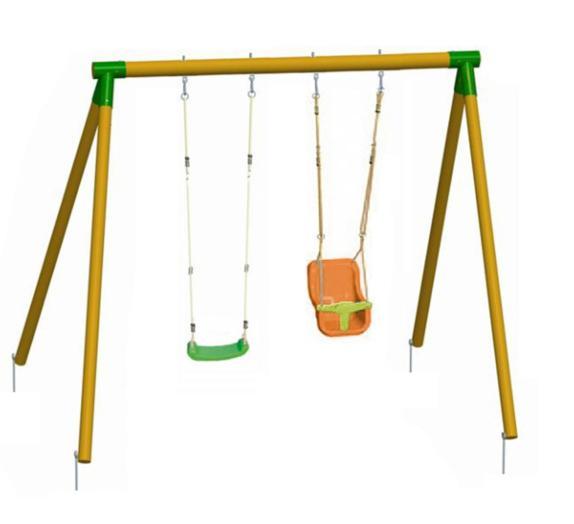 Columpio de madera doble kibo con asiento de beb - Columpio madera jardin ...