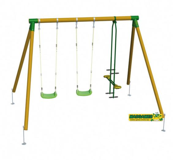 Columpio madera triple masgames con balanc n cara a cara for Balancines de madera para jardin