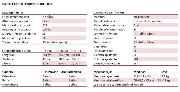 cuadro datos técnicos karts eléctricos berg