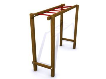 escalera horizontal, escalera de mono, escalera de madera, escalada, circuito de educación física, escalera horizontal de mandera, loumarpark