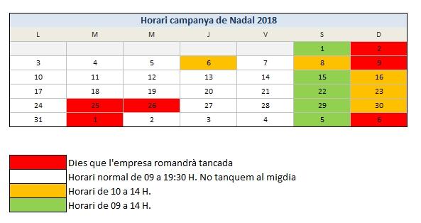 Horari Topludi Nadal 2018