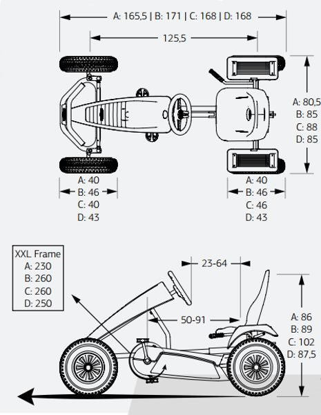 karts de pedales BERG medidas kart